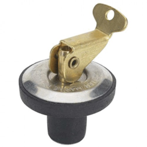 """1/2"""" Deck and baitwell drain plug - Stainless steel plate with brass cam snap"""